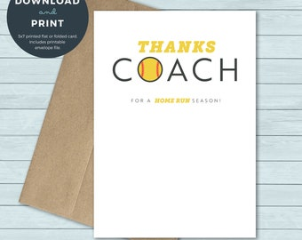 Greeting Card Rainbow Thank You Card PRINTABLE Team Thank You Card for Softball Coach Instant Download