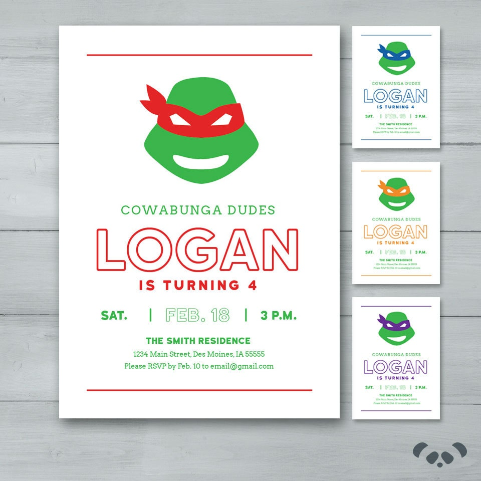 Teenage Mutant Ninja Turtles Birthday Invitation TMNT | Etsy