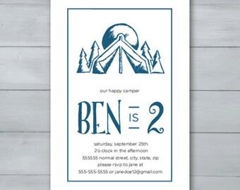 Happy Camper Birthday Party Invitation  |  Camping Invite  |  Camping Birthday Invite  |  Tent Birthday Invite