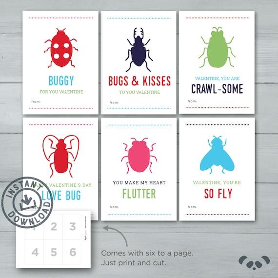 kids valentine cards love bug valentines bug insect kid  etsy