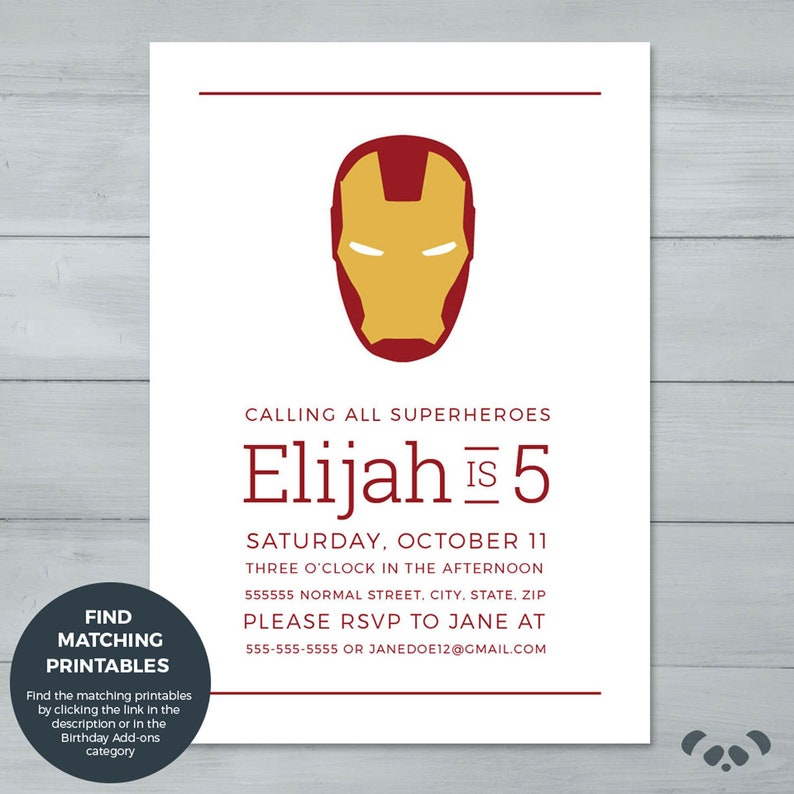 Iron Man Birthday Invitation Invite Superhero