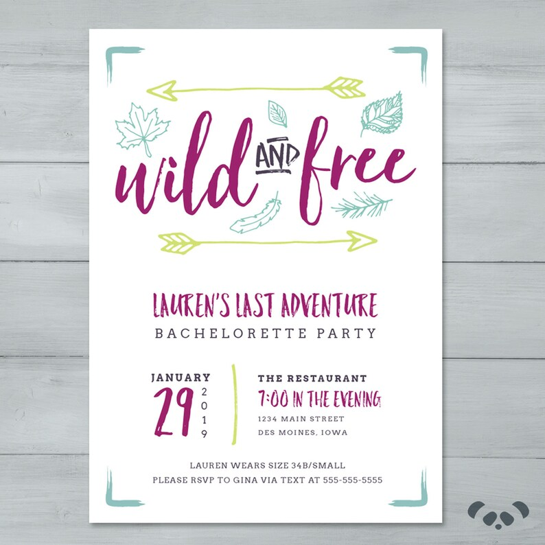 Wild And Free Bachelorette Party Invitation