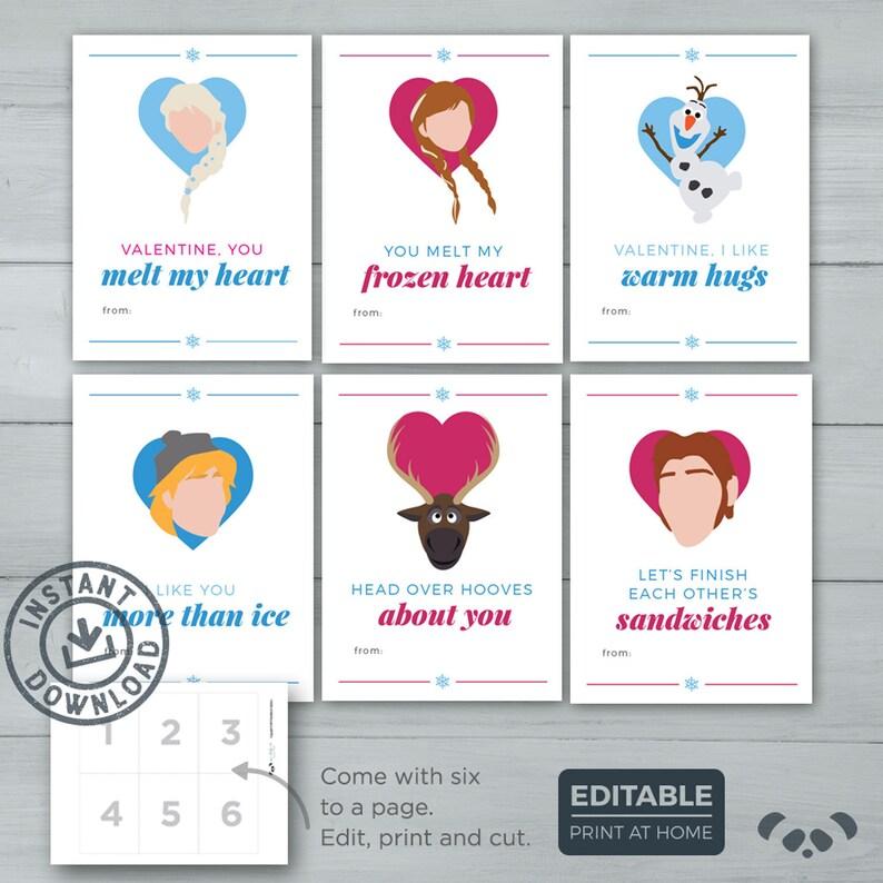 Kids Valentine cards  Frozen Valentines    Anna Olaf Hans image 0