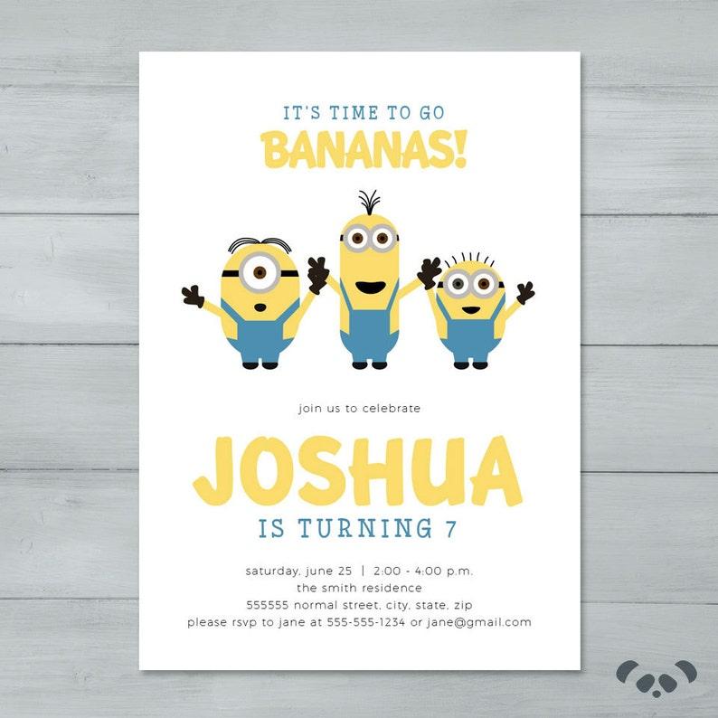 Minion Birthday Party Invitation Minion Banana Birthday Etsy