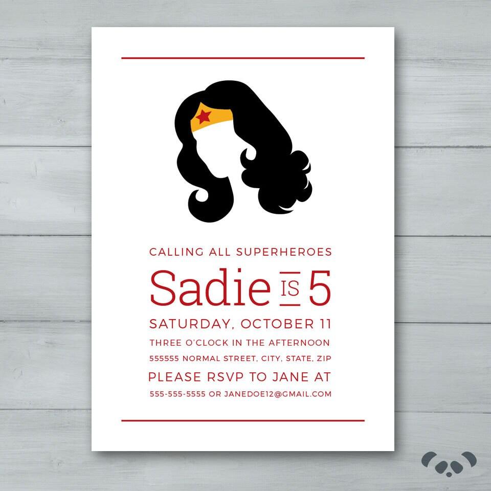 Wonder Woman Birthday Party Invitation Wonder Woman | Etsy
