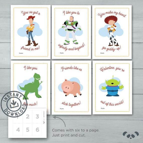 Kids Valentine Cards Toy Story Valentines Woody Buzz Etsy