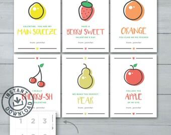 Kids Valentine cards   Fruit Valentines     Lemon, Strawberry, Orange, Cherries, Pear, Apple Kids Valentines   Instant Download