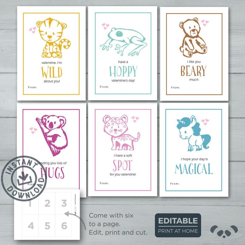 Kids Valentine Cards  Cute Animals Valetines    Tiger Frog image 0