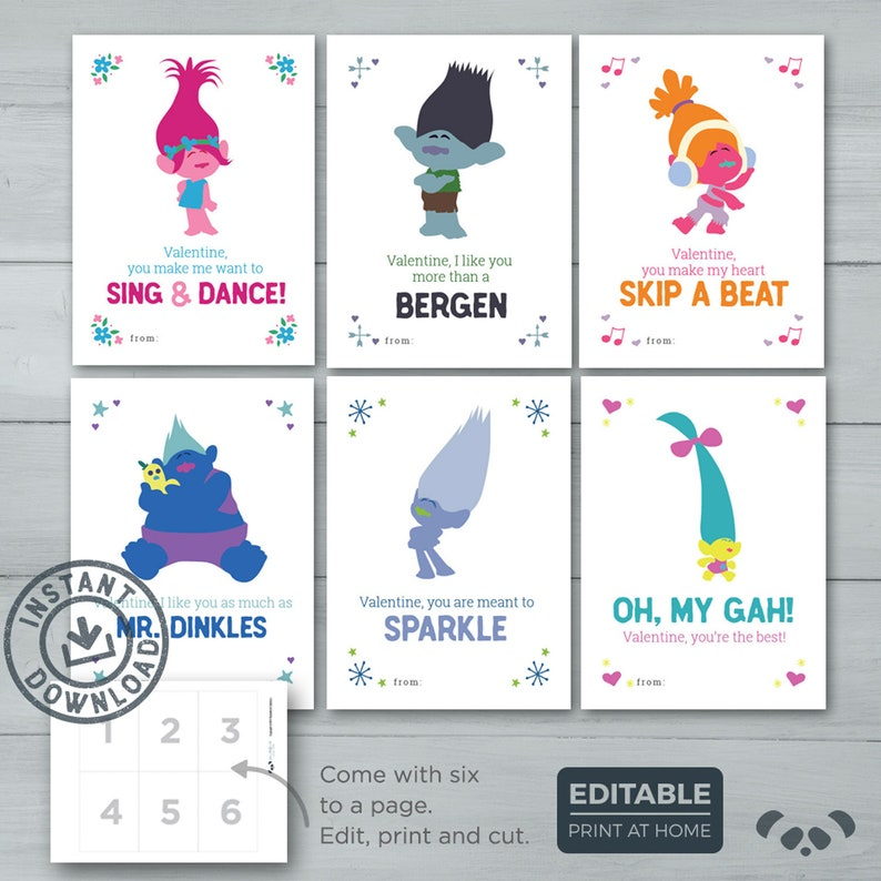 Kids Valentine cards  Trolls Valentines    Poppy Branch image 0