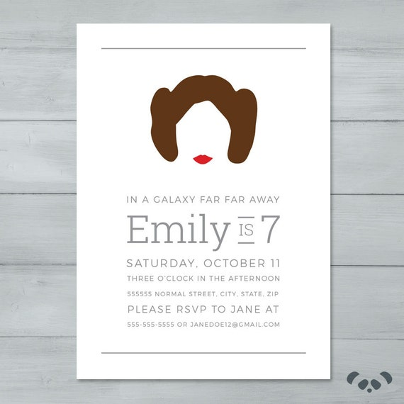 Princess Leia Star Wars Birthday Party Invitation
