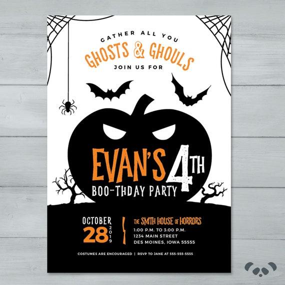 halloween birthday party invitation pumpkin spooky etsy