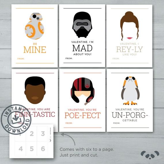 Kids Valentine Cards Star Wars Valentines Rey Bb8 Etsy