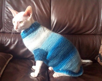 Blue long cat sweater Sphynks clothes