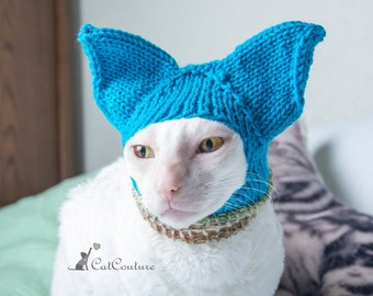 Cat Hat Hat for cat Ears covering cat hat Multicolored handmade hat for naked cats Winter wear for sphynx or cornishrex cats Small pet hat