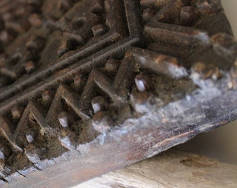 Large old vintage wooden print block.  Carved Indian block - wall deco - interiors.