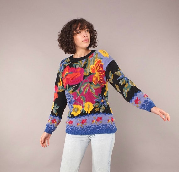 Vintage 80s Floral Chunky Hand Knit Cotton Pullove
