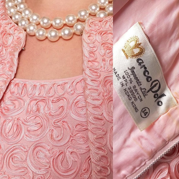 1960s Vintage Pink Jackie O Soutache Embroidered D