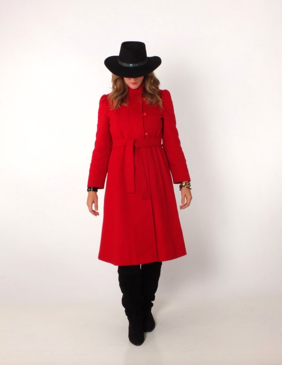 1970s Vintage Red Military Style Asymmetrical Wint
