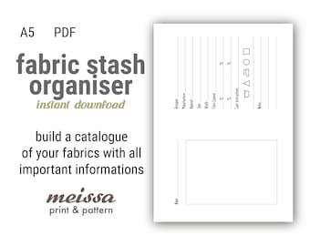 A5 Fabric Stash Organizer printable insert