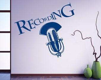 Wall Decal Microphone Art Recording Studio Sign On The Air Design Music Studio Murals Vinyl Sticker Home Décor A369