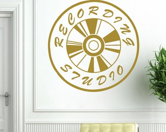 Wall Decal Vinyl Record Art Recording Studio Sign On The Air Design Music Studio Murals Vinyl Sticker Home Décor A367