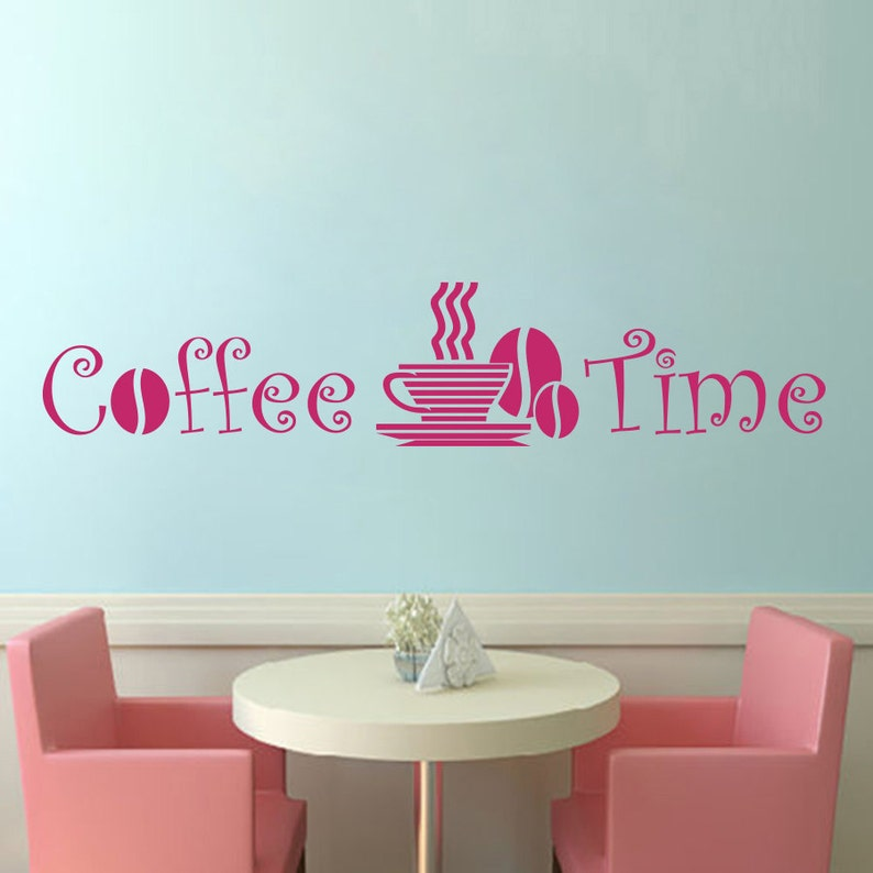 Wall Decal Quote Coffee Time Cup Beans Murals Relax Food Drinking Meals Design Restaurant Cafe Shop Coffee Houses Vinyl Home D\u00e9cor M188