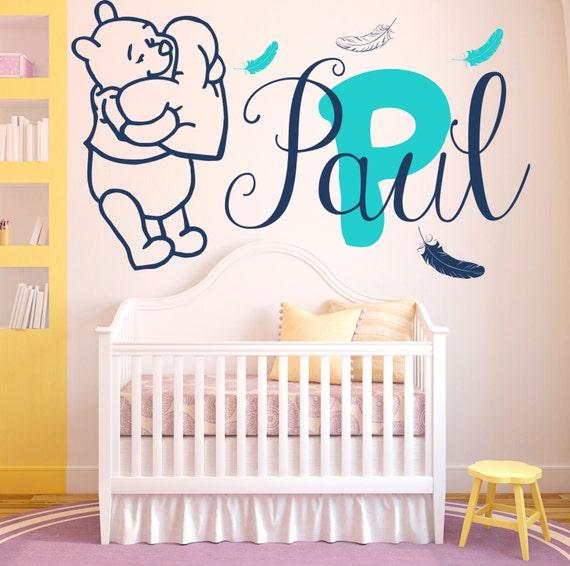Wandtattoo Baby Winnie der Pooh Vinyl Aufkleber personalisierte  benutzerdefinierten Monogramm Baby Mädchen Jungen Schlafzimmer Kinderzimmer  Wandbilder ...