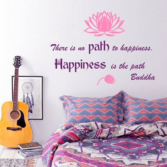 Wall Decal Quote There Is No Path To Happiness Happiness Is Etsy