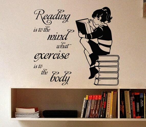 Wall Decal Vinyl Sticker Citation Livres Lecture Est à Chambre Bibliothèque Murales Maison Décor étude A453 L Esprit L Exercice Fairy Tales Fille
