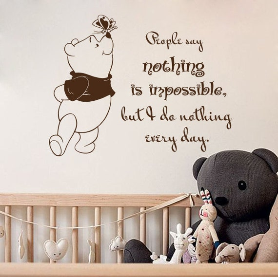 wall decal book quotes people say nothing is impossible winnie | etsy