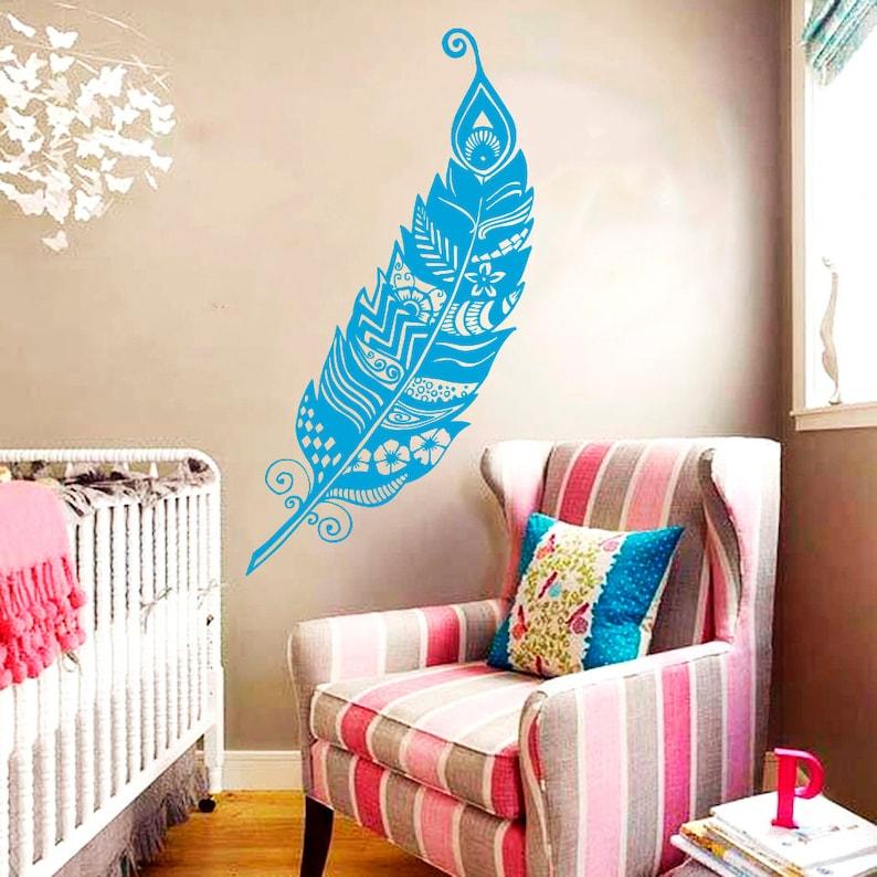Wall Decal Feathers Feather Peafowl Peacock Bird Pattern Nature Vinyl Sticker Home D\u00e9cor Bedroom Nursery Living Children/'s Room Murals S89