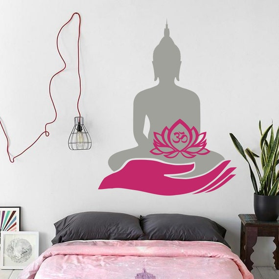 Lotus Flower With OM Symbol Bedroom Wall Home Decor Sticker Art Decal Black