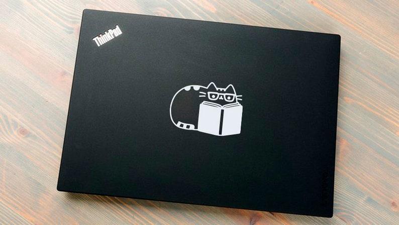 Laptop Vinyl Decal Fat Cat Cats Books Book Kitty Motivation Reading Computer Tablet Notebook Keyboard Phone Wall Murals Home Kids D\u00e9cor A607