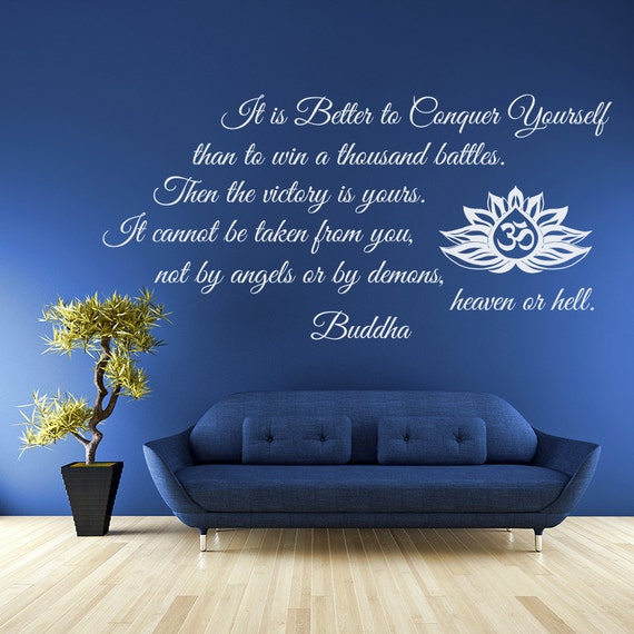 Wall Decals Quotes It Is Better To Conquer Yourself Buddha Etsy