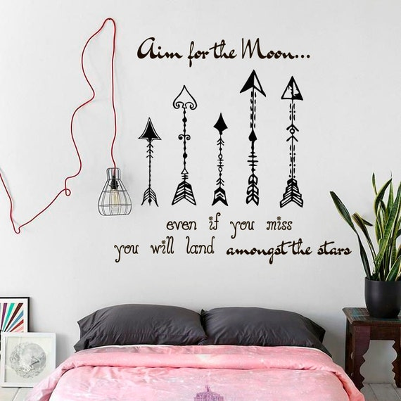 Wall Decals Aim For The Moon Even If You Miss You Will Land Etsy