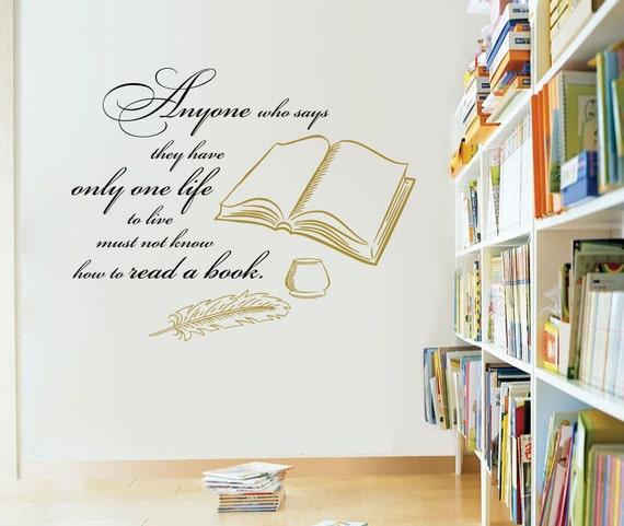 Sticker Mural Autocollant Vinyle Citation Livres De Lecture N Importe Qui Qui Ne Dit Chambre Bibliothèque Murales Maison Décor étude A457 Qu Une Seule