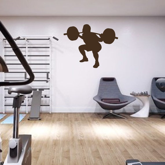 Fitness Center Weight Lifting Wall StickerSport Gym Workout Room Decor Decal