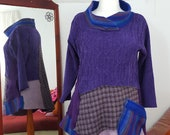 Recycled jumper Purple pinky rainbow acrylic and tweed wool faux suede soft felt cosy cowl winter warmer raw edged zigzag