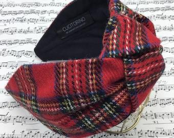 Tartan hair headband, knot headband, tartan wool headband, red headband, red tartan, Scottish headband, woman.