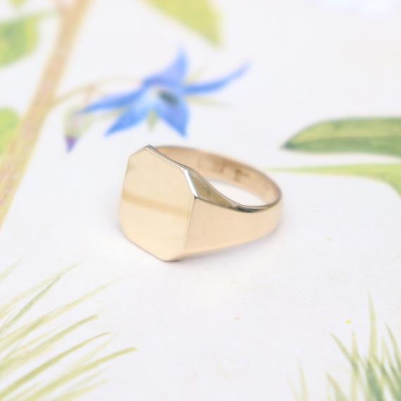 9ct Yellow Gold Octagonal Signet Ring 9k Gold Ladies Gold Etsy