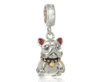 00408bb0ab6 NEW 925 Sterling Silver Cute Bulldog dangle charm for European Bracelets