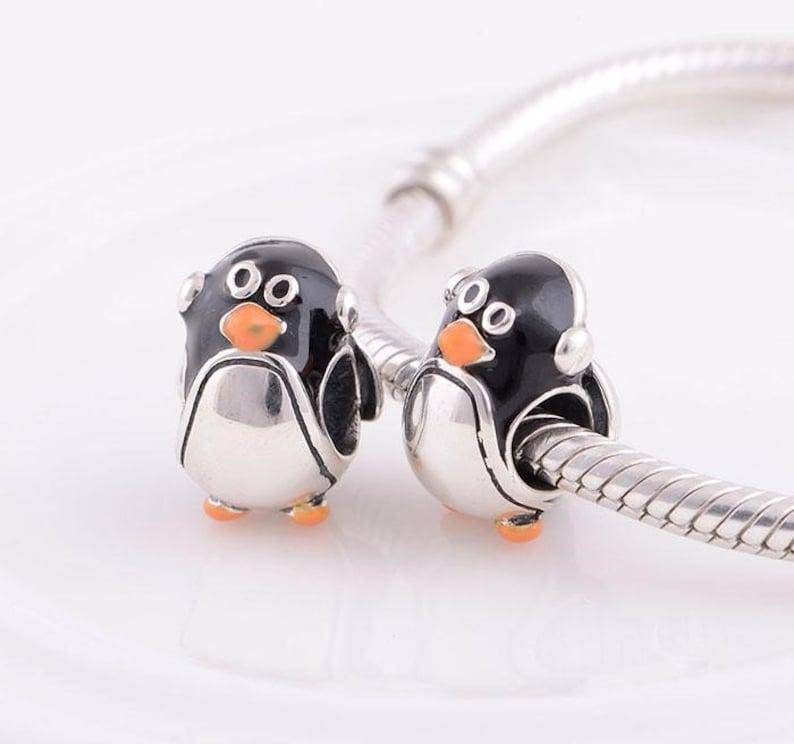 925 Sterling Silver a Cute Penguin charm for European Bracelets