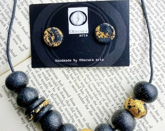 Unusual Jewelry Set, Ooak, Unique, Handmade Beaded Necklace, Polymer Clay Necklace, Matching Earrings.