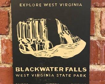 Blackwater Falls Letterpress Print