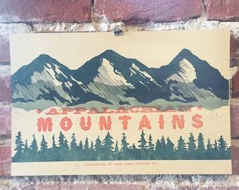 Appalachian Mountains Letterpress Print
