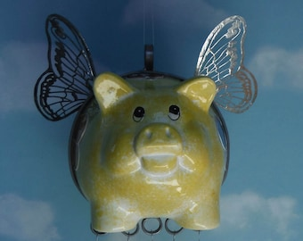 Flying Pig Spring Pig with Stained Glass Wind Chimes