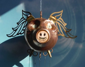 Changing Mouth Flying PIg with Silver Plate Chimes