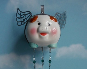 Flying Pig Piggy Bank Up Cycled into Wind Chime with Stained Glass Chimes