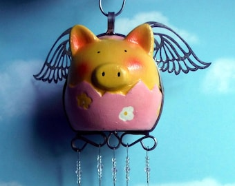 Flying Pig in a Cracked Egg Wind Chime for Easter Fun