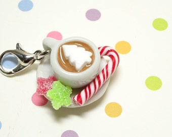 Hot Chocolate Charm, Christmas Charm,Food Jewelry, Polymer Clay Charm, Miniature Food Jewelry, Christmas Stitch Marker,Gift for foodie